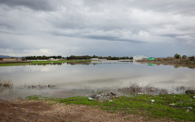 Des terrains inondés par les fortes pluies à Afula, dans le nord d'Israël, le 9 janvier 2020. (Anat Hermony/Flash90)