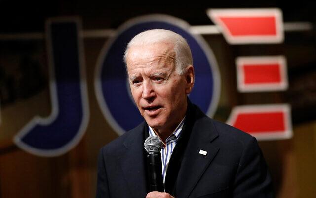 Le candidat à l'investiture présidentielle Démocrate, et ancien vice président, Joe Biden s'exprime lors d'un événement de campagne à Independence, Iowa, le 3 janvier 2020. (AP Photo/Patrick Semansky)