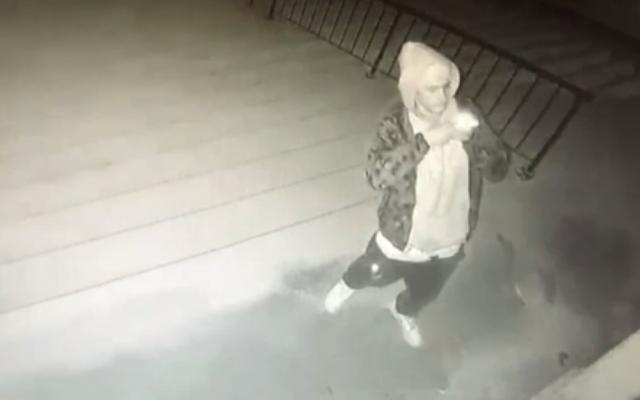 Les images d'une caméra de sécurité montrent un homme prenant une photo après avoir peint des croix gammées et des injures raciales sur les escaliers et la porte d'une synagogue à Lincoln, Nebraska (capture d'écran vidéo)