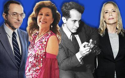 De gauche à droite : Moshe Arens, Lori Gilbert Kaye, Robert Frank, Peggy Lipton. (Getty Images/Facebook/via JTA)