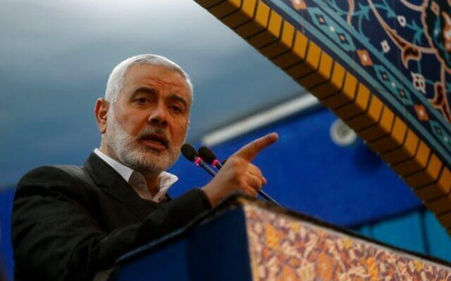 Le chef du Hamas, Ismail Haniyeh, s'exprime lors des funérailles de Qassem Soleimani, à Téhéran, Iran, le 6 janvier 2020. (Bureau du Guide suprême iranien)