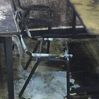 """Une classe dans le village d'Einabus, dans le nord de la Cisjordanie, qui a été incendiée lors d'une attaque de type """"prix à payer"""", le 28 janvier 2020 (Autorisation)"""