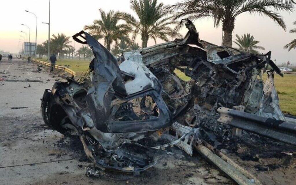 L'épave résultant de la frappe américaine ayant tué le général iranien Qassem Soleimani à Bagdad, le 3 janvier 2020. (Réseaux sociaux)