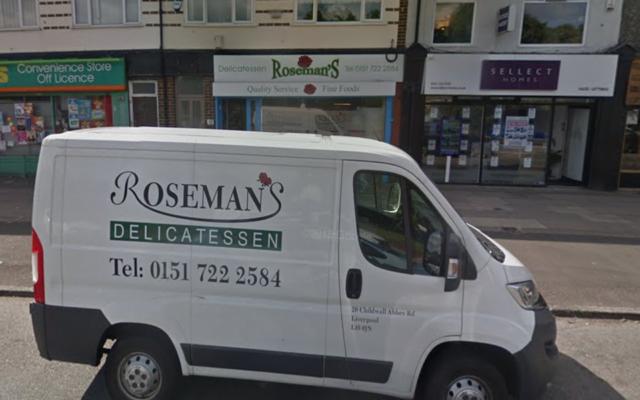 Roseman's Delicatessen à Liverpool était le principal magasin casher de la ville  (Crédit : Google Street View via JTA)