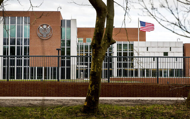 L'ambassade des États-Unis à Wassenaar, Pays-Bas, le 29 janvier 2018 (Crédit : Koen van Weel/AFP via Getty Images)