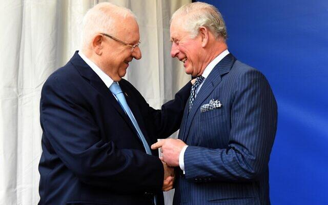 Le Président Reuven Rivlin et le Prince Charles de Grande-Bretagne à la Résidence du Président à Jérusalem, le 23 janvier 2020 (Crédit : Mark Neyman/GPO)