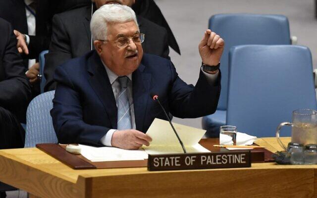 Le chef de l'Autorité palestinienne Mahmoud Abbas s'exprime au Conseil de sécurité des Nations unies à New York, le 20 février 2018. (AFP/Timothy A. Clary)