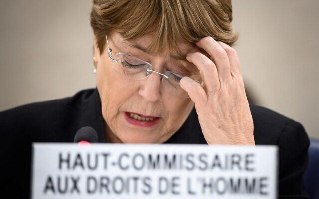 Michelle Bachelet Haut-Commissaire au droits de l'Homme à l'ONU, à Genève, le 20 mars 2019. (Crédit : Fabrice Coffrini/AFP)