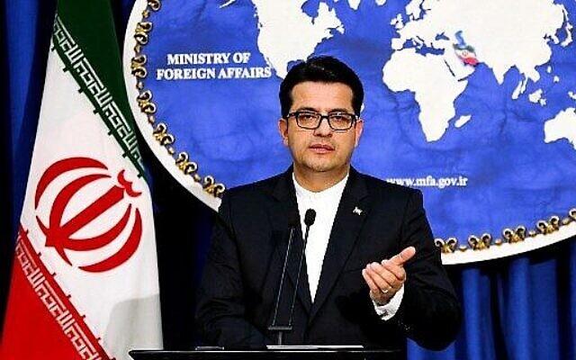 Abbas Mousavi, porte-parole du ministère iranien des Affaires étrangères, donne une conférence de presse dans la capitale Téhéran le 28 mai 2019. (Crédit : Atta Kenare/AFP)