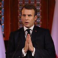 Le président français Emmanuel Macron lors d'un discours sur la Pologne et la France en Europe à l'université de Jagellonne  à Cracovie, en Pologne, le 4 février 2020 (Crédit : Photo by Ludovic Marin / AFP)