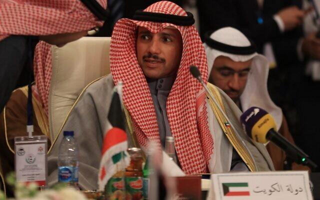 Le président de l'Assemblée nationale du Koweït Marzouq al-Ghanem participe à la réunion d'urgence de l'union arabe inter-parlementaire à Amman, la capitale de Jordanie, le 8 février 2020 pour discuter de plan controversé de paix pour le Moyen-Orient à Washington. (Photo par Khalil MAZRAAWI / AFP)