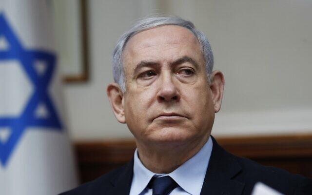 Le Premier ministre Benjamin Netanyahu lors de la réunion hebdomadaire du cabinet à Jérusalem, le 9 février 2020. (Ronen Zvulun/Pool/AFP)