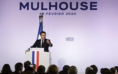 Le président français Emmanuel Macron lors de son discours à Mulhouse, dans l'est de la France, le 18 février 2020. (Crédit : SEBASTIEN BOZON / AFP)