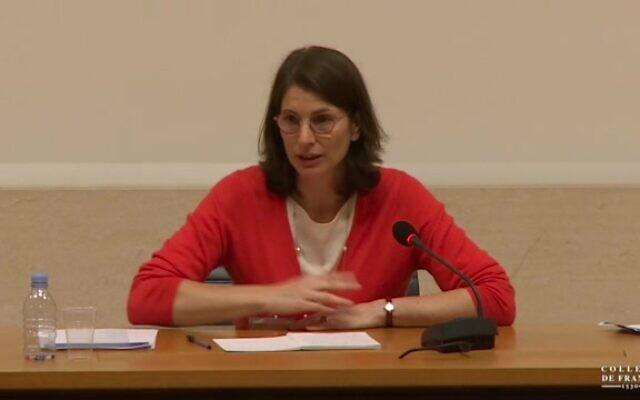 L'avocate Corinne Hershkovitch. (Crédit : capture d'écran Collège de France)