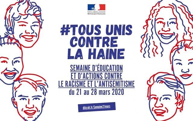 Affiche de la Semaine d'éducation et d'actions contre le racisme et l'antisémitisme organisée du 21 au 28 mars 2020.