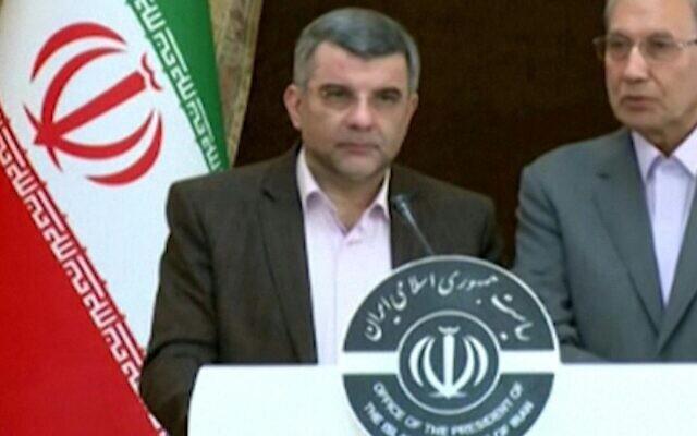 Le vice-ministre iranien de la Santé Iraj Harirchi annonce dans une vidéo diffusée par la télévision d'Etat avoir été infecté par le nouveau coronavirus, le 25 février 2020. (Crédit : AFPTV)