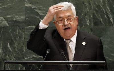 Le président de l'Autorité palestinienne Mahmoud Abbas s'adresse à la 74e session de l'Assemblée générale des Nations unies, le 26 septembre 2019. (AP Photo/Richard Drew)
