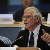 Le chef de la politique étrangère européenne Josep Borrell au Parlement européen à Bruxelles, le 7 octobre 2019. (Crédit : AP Photo/Virginia Mayo)