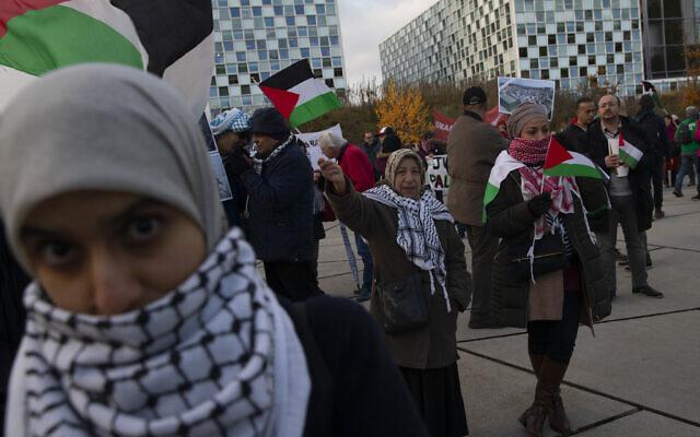Des manifestants brandissent des bannières et des drapeaux palestiniens aux abords de la Cour pénale internationale, demandant à ce que des poursuites soient lancées contre Israël pour crime de guerre, à La Haye, aux Pays-Bas, le 29 novembre 2019 (Crédit : AP Photo/Peter Dejong)