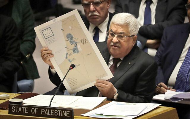Le président palestinien Mahmoud Abbas s'exprime lors d'une réunion du Conseil de sécurité au siège des Nations unies, mardi 11 février 2020. (AP Photo/Seth Wenig)