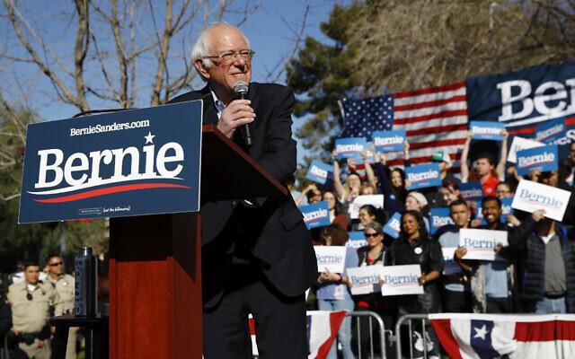 Le candidat à l'investiture démocrate à la présidence Bernie Sanders, sénateur indépendant du Vermont, lors d'un événement de campagne à l'université du Nevada, à Las Vegas, le 18 février 2020 (Crédit :  AP Photo/Patrick Semansky)