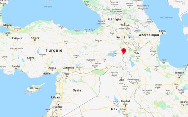 L'épicentre du séisme, près du village de Habash-e Olya, en Iran. (Crédit : capture d'écran Google Maps)