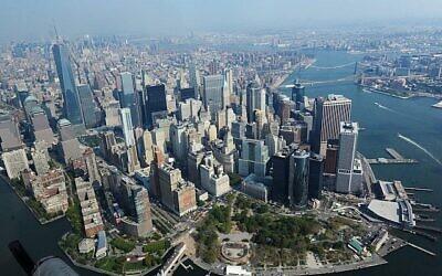 Vue aérienne du quartier financier de New York. (Mendy Hechtman/Flash90)