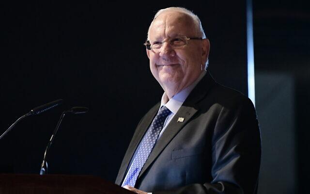 Le président israélien Reuven Rivlin lors d'une conférence sur le climat à Tel Aviv, le 24 novembre 2019. (Crédit : Tomer Neuberg/Flash90)