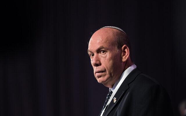 Le contrôleur de l'État Matanyahu Englman lors du cinquième Forum mondial sur la Shoah au mémorial de la Shoah de Yad Vashem à Jérusalem, Israël, le 23 janvier 2020. (Yonatan Sindel/Flash90)