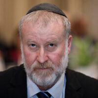 Le procureur général Avichai Mandelblit assiste à un événement à l'hôtel Dan à Jérusalem, le 6 février 2020. (Olivier Fitoussi/Flash90)