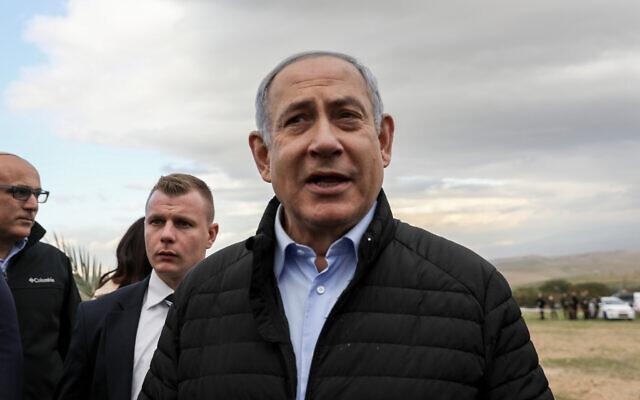 Le Premier ministre Benjamin Netanyahu dans l'implantation de Mevoot Yericho à l'occasion de la fête juive de Tou Bichvat dans la vallée du Jourdain, en Cisjordanie, le 10 février 2020. (Crédit : Flash90)