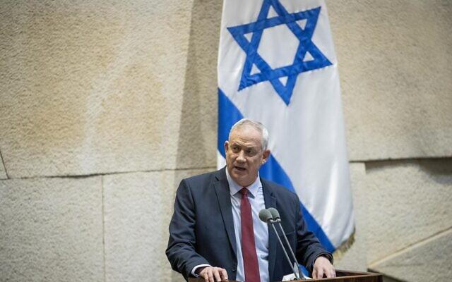 Benny Gantz s'exprime au cours d'un débat à la Knesset sur les escalades récentes de violence à Gaza, le 10 février 2020 (Crédit : Yonatan Sindel/Flash90)