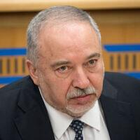 Le dirigeant d'Yisrael Beytenu, Avigdor Liberman, lors d'une conférence à l'Institut israélien de la démocratie, à Jérusalem, le 24 février 2020. (Yonatan Sindel/Flash90)