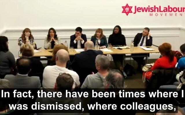 Ruth Smeeth, à l'extrême gauche de l'image, face au candidat au leadership du Parti travailliste. (Crédit : capture d'écran Twitter)