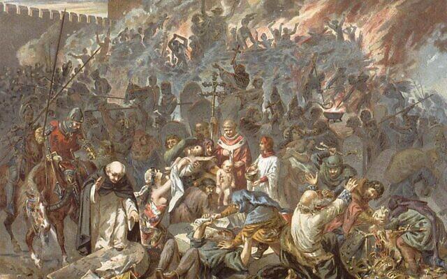 Illustration de 1894 représentant le pogrom de Strasbourg, le massacre des habitants juifs de la ville, le 14 février 1349, suite à des allégations antisémites les disant coupables de la propagation de la peste noire. (Crédit : Domaine public / Bibliothèque nationale et universitaire de Strasbourg)