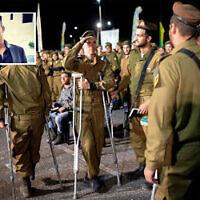 Des soldats de la brigade Golani, quelques heures après avoir été blessés lors d'une attaque à la voiture-bélier, participent à leur cérémonie d'intronisation, le 6 février 2020. En médaillon : l'assaillant présumé Sanad al-Tourman. (Armée israélienne, médias sociaux)