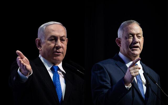 Photo composite montrant à gauche le Premier ministre Benjamin Netanyahu, aux côtés du chef de Kakhol lavan, Benny Gantz, (à droite), s'exprimant séparément lors d'une conférence de presse à Jérusalem, le 8 décembre 2019. (Crédit : Yonatan Sindel/Hadash Parush/Flash90)