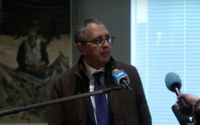Moncef Baati, l'ambassadeur tunisien aux Nations unies, au siège des Nations unies à New York, le 30 janvier 2020. (Capture d'écran: YouTube)