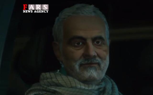 Qassem Soleimani quelques moments avant son assassinat par un drone américain mis en scène dans un film d'animation iranien. (Autorisation : MEMRI)