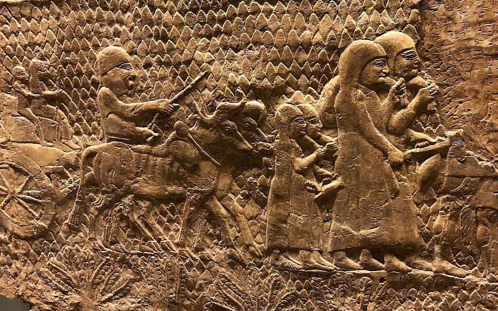 Un bas-relief exposé au British Museum dépeint l'armée assyrienne rasant Lachish pendant leur conquête et leur destruction des implantations de Judah. (Crédit : Amanda Borschel-Dan/Times of Israel)