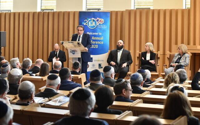 Le président du Consistoire, Joel Mergui, intervient lors de la conférence annuelle de l'Association juive européenne à Paris, le 25 février 2020. (Yoni Rykner)