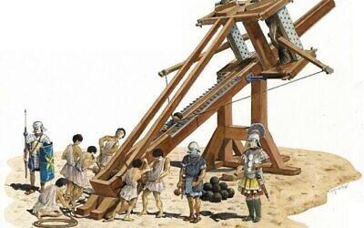 Image d'illustration d'une baliste vieille de 2000 ans. (Shalom Kveller, Crédit: Archives de la Ville de David)