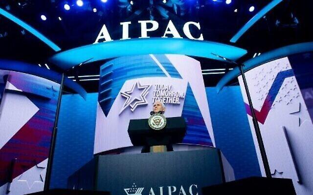 Le vice-président américain Mike Pence s'exprime lors de la conférence politique 2020 de l'American Israel Public Affairs Committee (AIPAC) à Washington, DC, le 2 mars 2020. (Photo par SAUL LOEB / AFP)