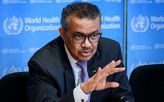 Le Directeur général de l'Organisation mondiale de la santé (OMS) Tedros Adhanom Ghebreyesus s'exprime lors d'un point de presse sur le coronavirus au siège de l'OMS à Genève le 9 mars 2020. (Crédit : Fabrice Coffrini / AFP)