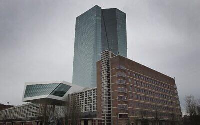 Le quartier général de la Banque centrale européenne est photographié à  Frankfurt am Main, en Allemagne, le 12 mars 2020. (Photo par Daniel ROLAND / AFP)