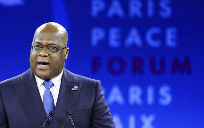Le président congolais Felix Tshisekedi au Forum pour la Paix de Paris, le 12 décembre 2019 à Paris. (Crédit : Ludovic Marin/Pool via AP)