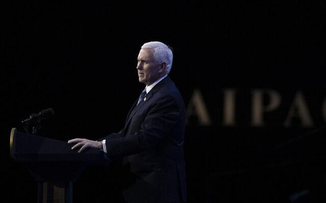 Le vice-président Mike Pence s'exprime lors de la conférence 2020 de l'American Israel Public Affairs Committee (AIPAC), le 2 mars 2020, à Washington. (AP Photo/Alex Brandon)