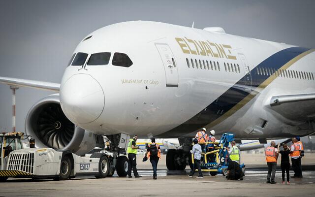 Un Boeing 787 Dreamliner de El Al à l'aéroport international Ben Gurion. (Flash90)