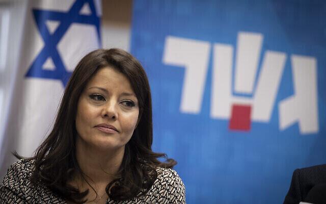 Orly Levy Avekasis, coprésidente de l'alliance Travailliste-Gesher, lors d'une réunion de faction à la Knesset, le 11 novembre 2019. (Crédit : Hadas Parush/Flash90)