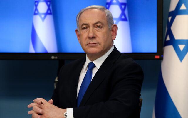 Le Premier ministre Benjamin Netanyahu lors d'une conférence de presse sur le coronavirus, au bureau du Premier ministre à Jérusalem, le 11 mars 2020. (Flash90)